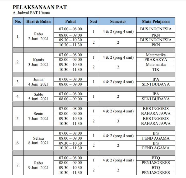 jadwal PAT 2021 KELAS 7 - 8